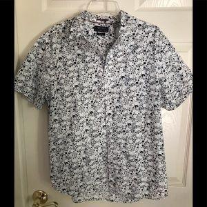 Denim and Flower Short sleeve Shirt